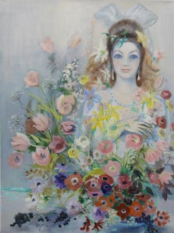 """Marie-Louise OGIER (1912 - 2003) : """" Pascale en fleurs """", huile sur"""