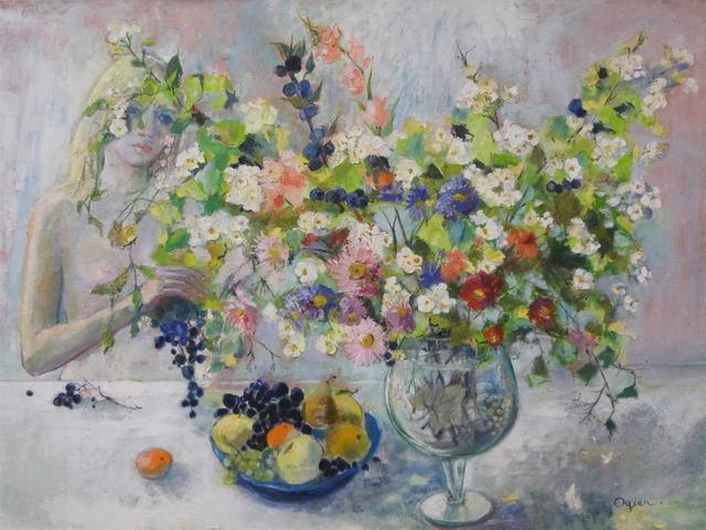 """Marie-Louise OGIER (1912 - 2003) : """" Fiancée de Bacchus """", huile"""