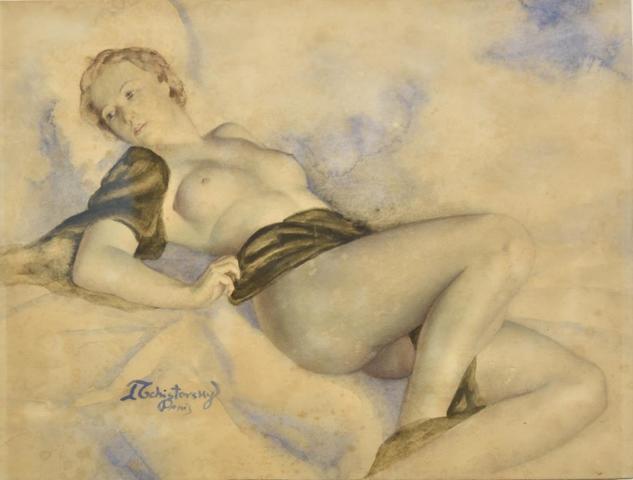 Lev TCHISTOVSKY (1902-1969) Jeune femme blonde alanguie Aquarelle