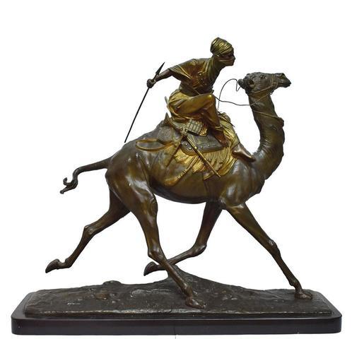 Edouard DROUOT (1859-1945) Le méhariste Groupe en bronze à patine