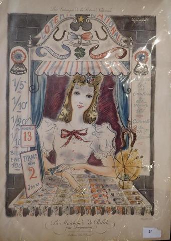 """André DIGNIMONT (1891-1965) """"La marchande de billets"""" pour les estampes"""