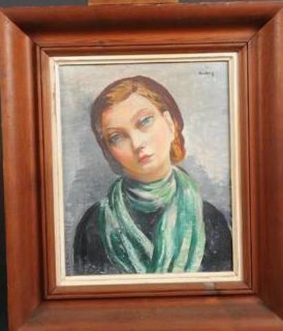 "Moise KISLING (1891-1953) ""Jeune femme au foulard vert"". Huile sur"