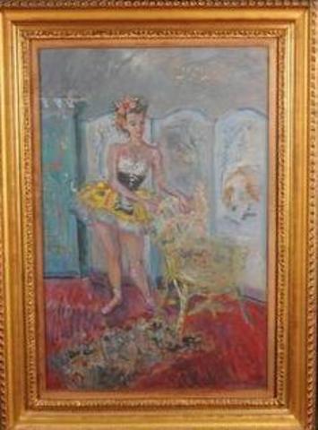 """Constantin TERECHKOVITCH (1902-1978). """"Ballerine au fauteuil"""". Huile"""