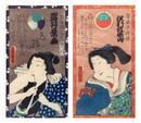 Deux estampes de Toyokuni III. En buste, les acteurs Sawamura Shozan