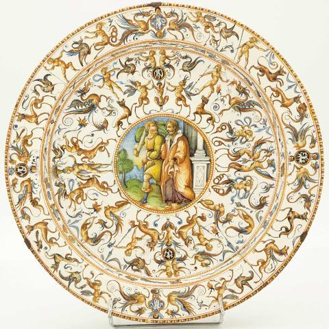 N°171BIS : Italie, Urbino : un beau grand plat d'apparat figurant
