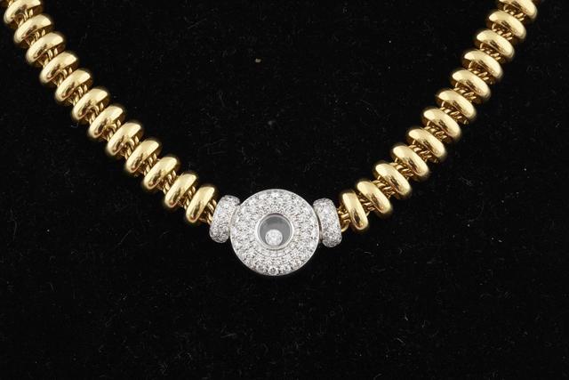 86-CHOPARD : Collier Happy Diamond deux ors articulé et pavage de