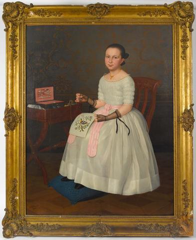 A. Delmare, jeune fille à la broderie, importante huile sur toile