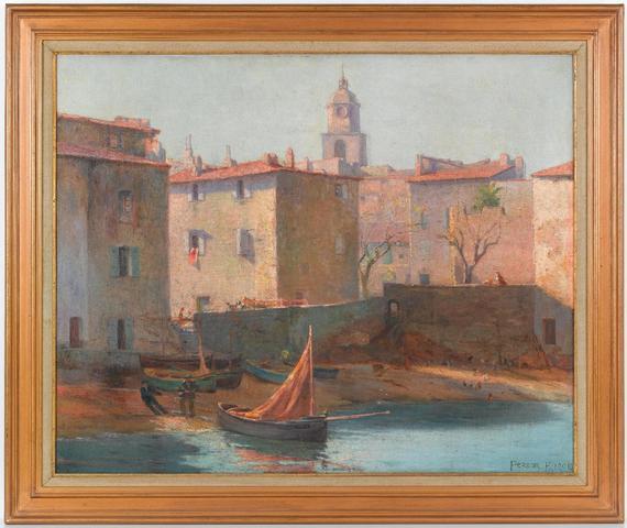 Henri Person (1876-1926). Saint Tropez, la plage de la Ponche huile
