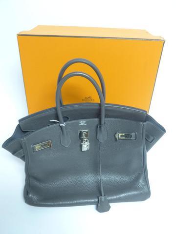 un sac Hermes, modèle Birkin en cuir grainé graphite larg. 33cm