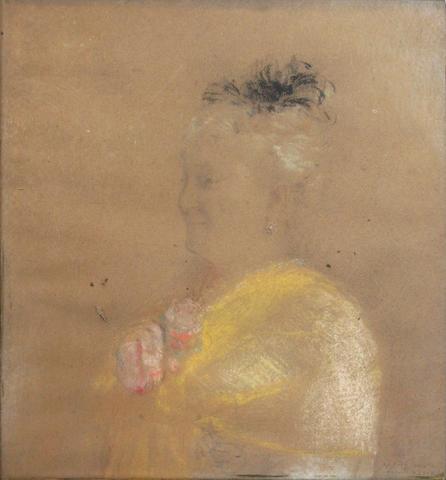 """- Attribué à Odilon Redon Portrait """"Mme Marchant"""" Pastel sur papier Signé"""