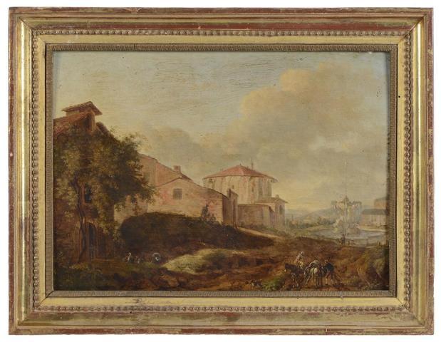 """Ecole Française ou Hollandaise du XVIIIe siècle. """"Paysage"""" Huile"""