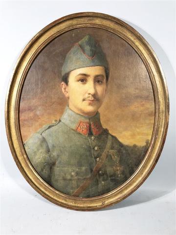 """Eugène DEULLY (1860-1933) """"Portrait à vue ovale d'un jeune militaire"""" Huile"""