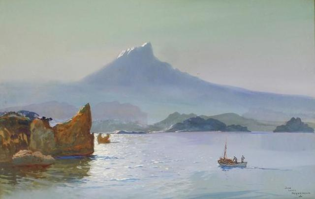 Jean-Louis PAGUENAUD (1876 - 1952) Retour de pêche. Gouache signée